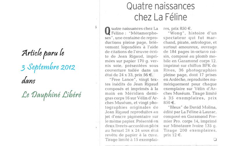 Le Dauphine Libéré 03/09/2012