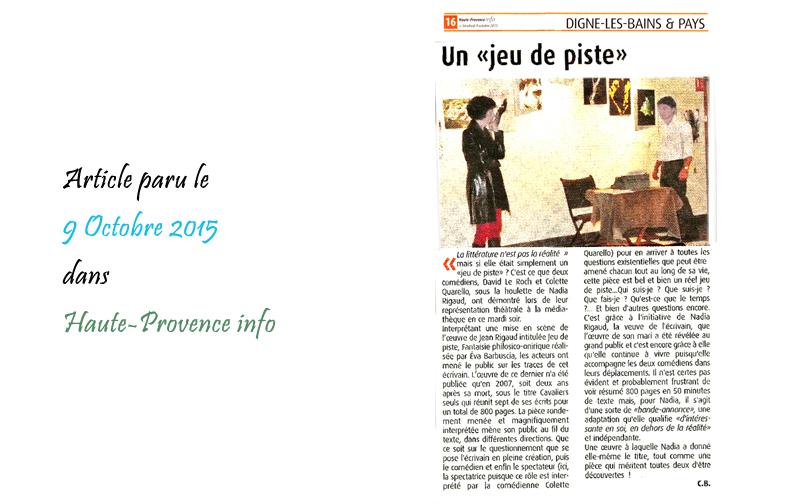 Haute Provence Info 09/10/2015