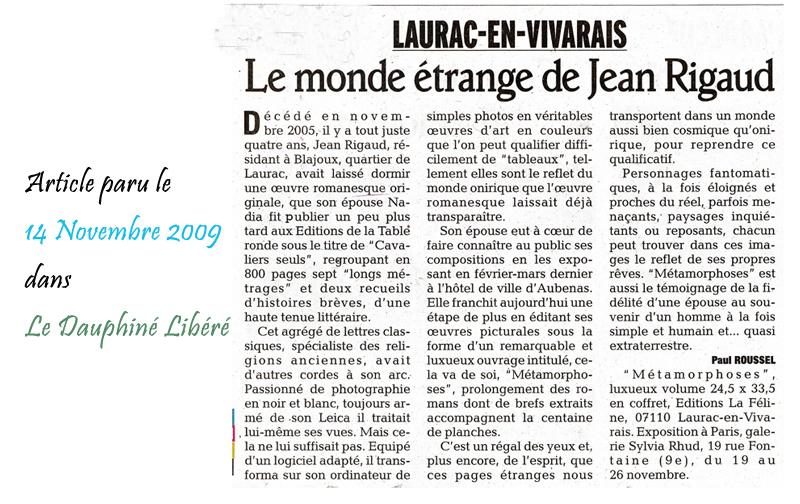 Le Dauphine Libéré 14/11/2009