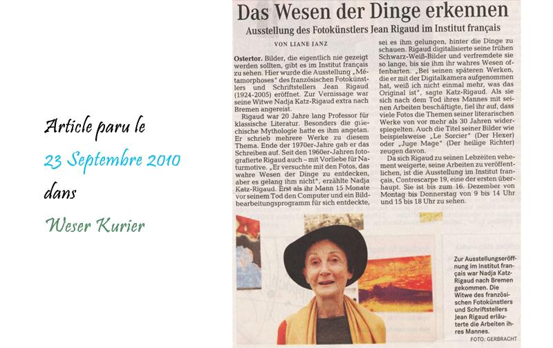 Weser Kurier 23/09/2010