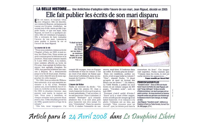 Le Dauphine Libéré 24/04/2008